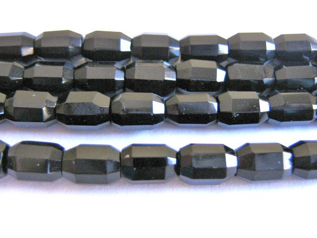 Jet Black Czech Glass Beads 5x8mm Faceted Oval