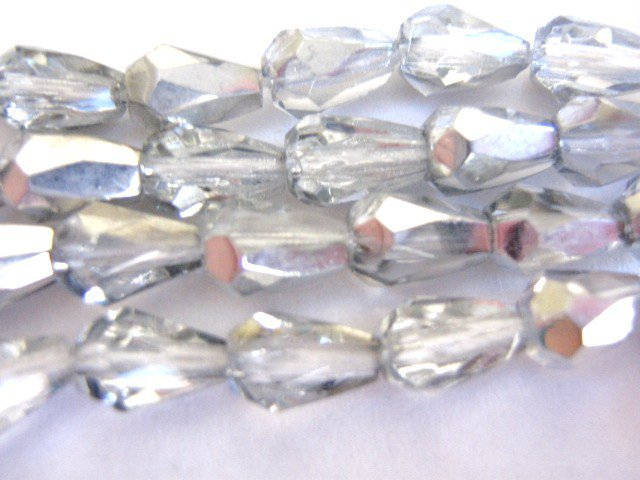 Clear Silver Czech Glass Beads 5x7mm Faceted Teardrops