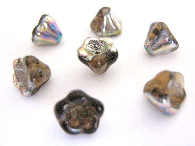 Smokey Topaz Vitrial Czech Glass Beads 8x6mm Tulip Flower