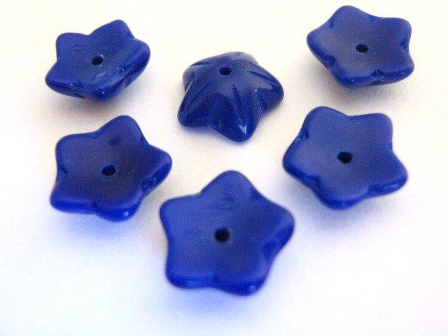 Czech Dark Blue Glass Beads 10mm Flower Beadcap