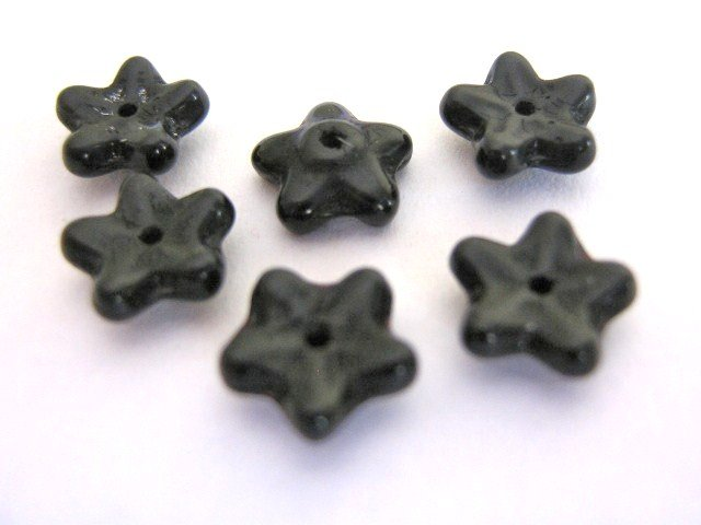 Black Czech Glass Beads 7mm Flowers 13