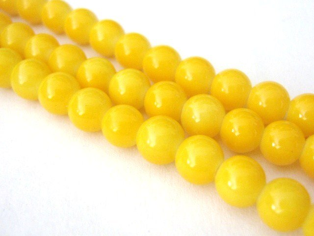 Canary Yellow Opaque Glass Beads 6mm Round
