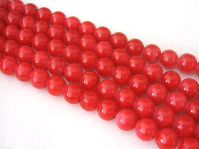 Red Opaque Glass Beads 6mm Round