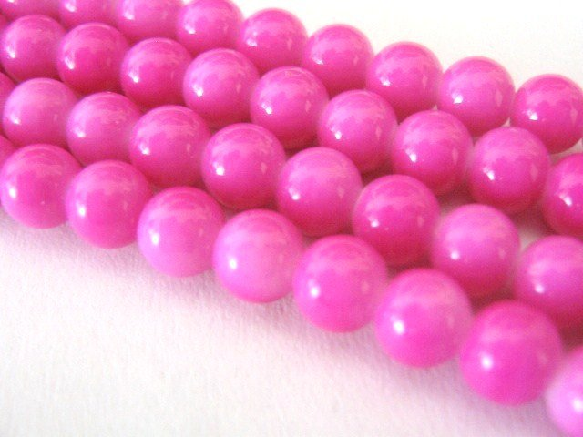 Fuchsia Pink Opaque Glass Beads 10mm Round