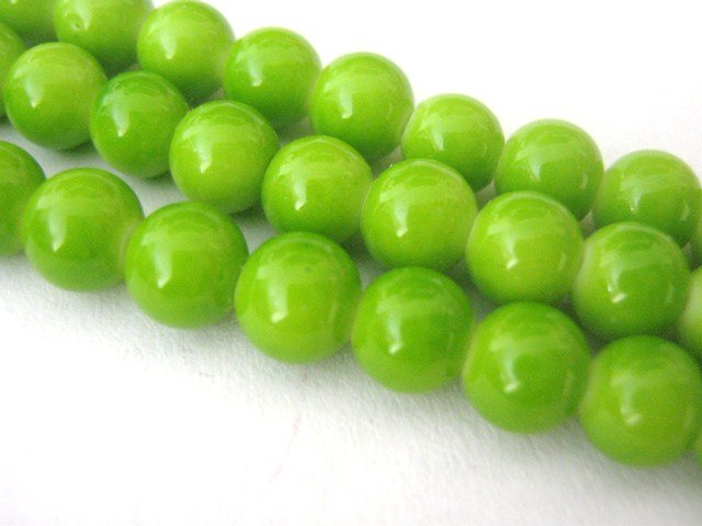 Yellow Green Opaque Glass Beads 8mm Round