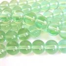 Green 10mm Round Glass Beads Transparent