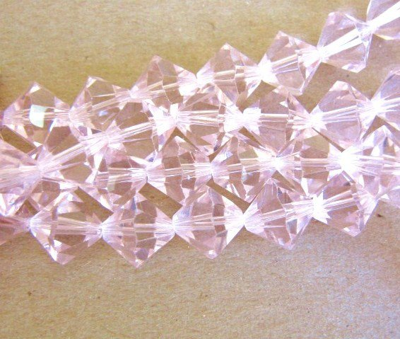 Transparent Pink 12mm Bicone Glass Beads