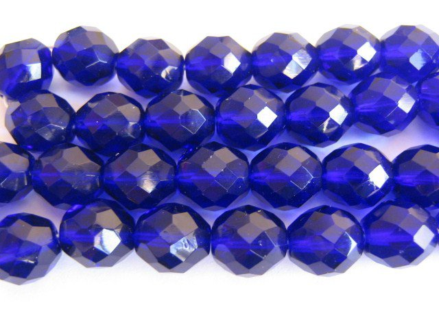 Cobalt Czech Glass Beads Blue 4mm Faceted Round