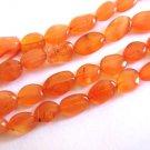 6x8-10mm Flat Oval Carnelian Gemstone Beads Burnt Orange