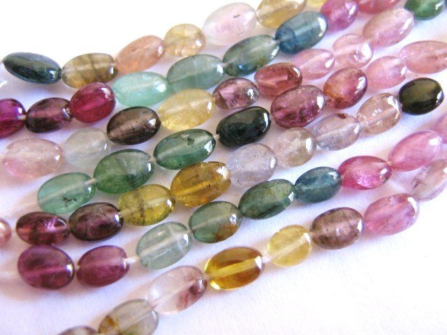 Tourmaline Gemstone Beads 4x7mm Flat Oval