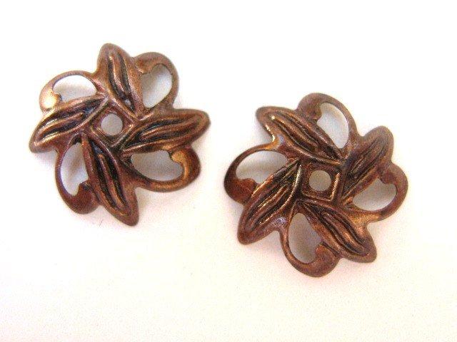 Antique Copper 10mm Leaf Bead Caps