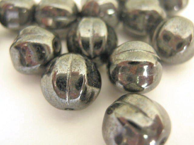 Hematite Czech Glass Beads 8mm Melon Round