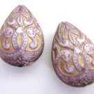 Lilac Purple Gold Teardrop 27x18mm Beads Acrylic