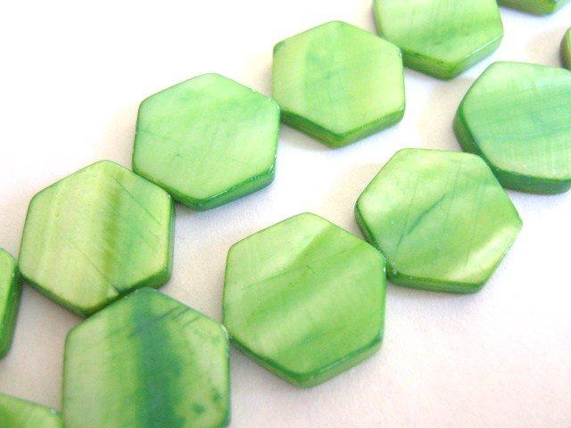 Green Shells 14mm Hexagon Beads