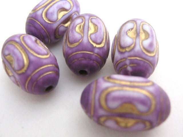 Lilac Gold 15x10mm Oval Purple Plastic Beads