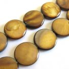 Brown 15mm Coin Shell Beads Flat Round