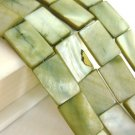 Green 10x15mm Rectangle Shell Beads
