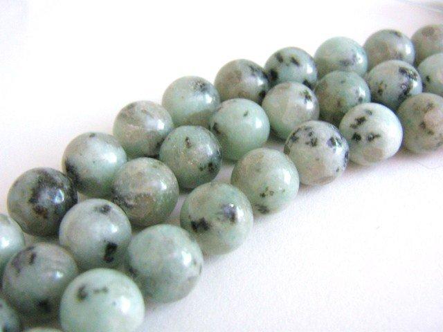Seasame Jasper Beads 10mm Round Kiwi Jasper