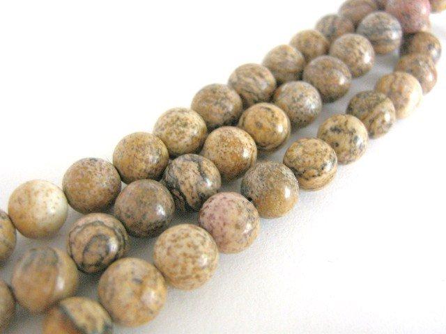 Picture Jasper 8mm Round Brown Gemstone Beads