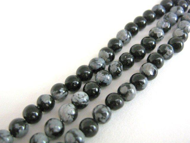 Snowflake Obsidian 5mm Round Beads