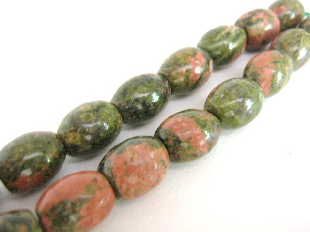 Unakite Beads 8x11mm Oval Green Salmon Gemstone