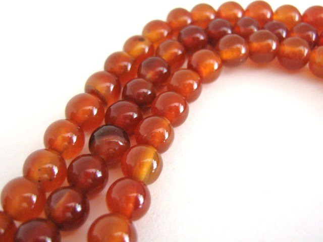 Carnelian Gemstone Beads 8mm Round Burnt Orange Stone