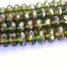 Olivine Celsian Green Czech Glass Beads 7x4mm Rondelle