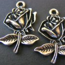 Rose Flower Charm 25x17mm Silver Plated Finish
