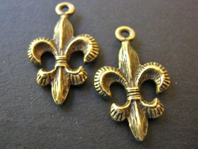 Charms Fleur de Lis 14x24mm Antique Bronze