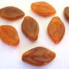 Hyacinth Carmel 8x12mm Leaves Orange Czech Glass Beads