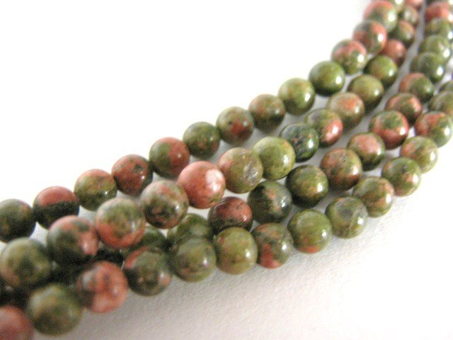 Unakite 4mm Round Gemstone Beads