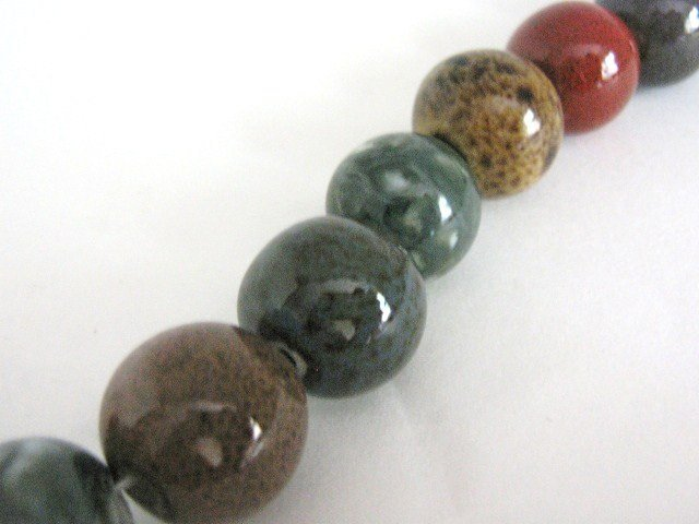 Green Red Brown 16mm Round Porcelain Beads