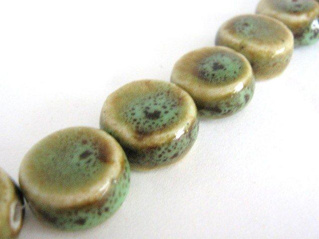 Honey Green 16mm Coin Porcelain Beads Flat Round
