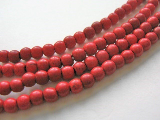 5mm Round Red Howlite Gemstone Beads Imitation Turquoise