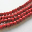 5mm Round Red Howlite Gemstone Beads Imitation Turquoise