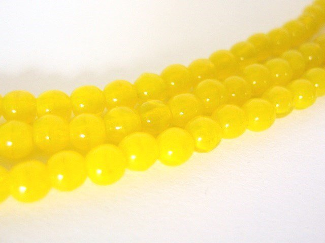 4mm Round Milky Yellow Czech Glass Beads Druk