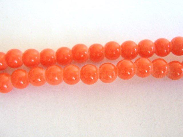 Salmon Opaque Orange Glass Beads 4mm Round