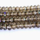 Brown 7x4mm Faceted Rondelle Czech Glass Beads Light Smoke Topaz Zarit