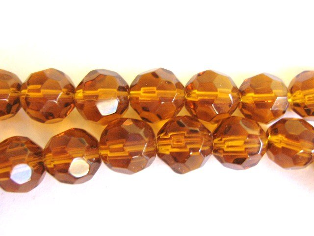 Brown 8mm Faceted Round Glass Beads Transparent