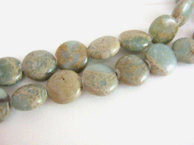 Aqua Terra Jasper 13mm Coin Impression Jasper Gemstone Beads