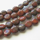 Red Brecciated Jasper 9mm Coin Red Black Gemstone Beads