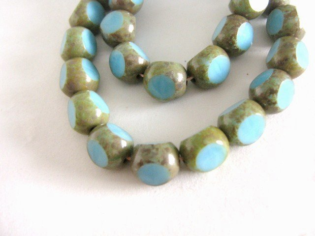 Turquoise Picasso Blue 8mm Round 3 Cut Czech Glass Beads