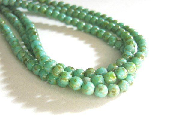 Turquoise Picasso 4mm Round Blue Czech Glass Beads