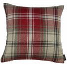 """McAlister Textiles Angus Tartan Check Red + White Cushion Cover - 16"""" Size"""