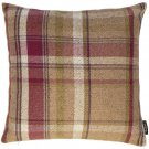 """McAlister Textiles Heritage Tartan Check Mulberry + Green Cushion Cover - 16"""" Size"""