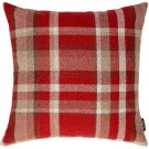"""McAlister Textiles Heritage Tartan Check Red + White Cushion Cover - 16"""" Size"""