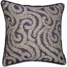 "McAlister Textiles Little Leaf Aubergine Purple Cushion Cover - 16"" Size"