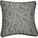 """McAlister Textiles Little Leaf Charcoal Grey Cushion Cover - 16"""" Size"""