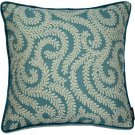 """McAlister Textiles Little Leaf Teal Cushion Cover - 16"""" Size"""