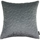 """McAlister Textiles Pebble Quilted Silver Grey Velvet Cushion Cover - 16"""" Size"""